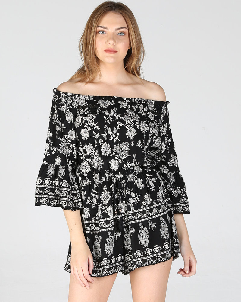 Angie Off The Shoulder Romper (Q5R78)