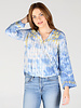 Angie Gauzy Woven Stripe Yellow Embroidered Bell Sleeve Surplus Top (X2AT0)