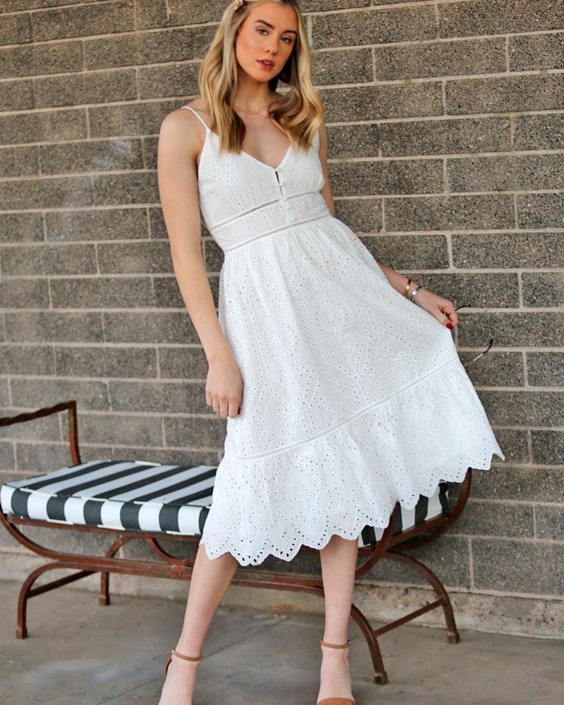 Angie White Eyelet Midi Length Spaghetti Strap Dress (X4X37)