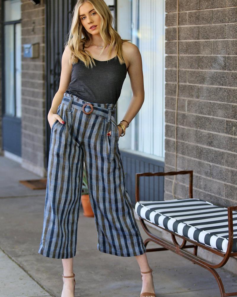 Angie Paperbag Waist Pant With Wood Circle Closure Self Belt (25R53)