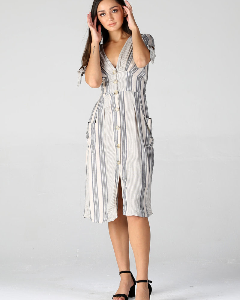 Angie Woven Stripe Button Front Dress (F4A57)