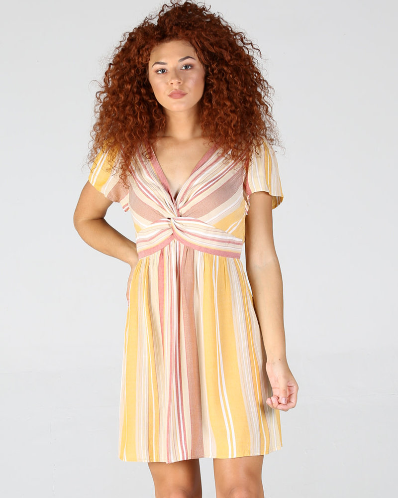 Angie Twist Front Short Sleeve Dress (F4D75)