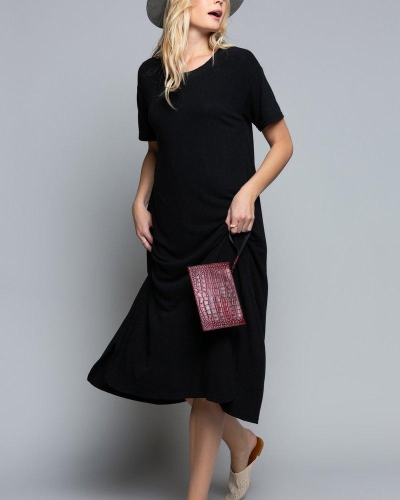 POL Felt Soft Short Sleeve Maxi Dress With Side Round Slit (SMD144)