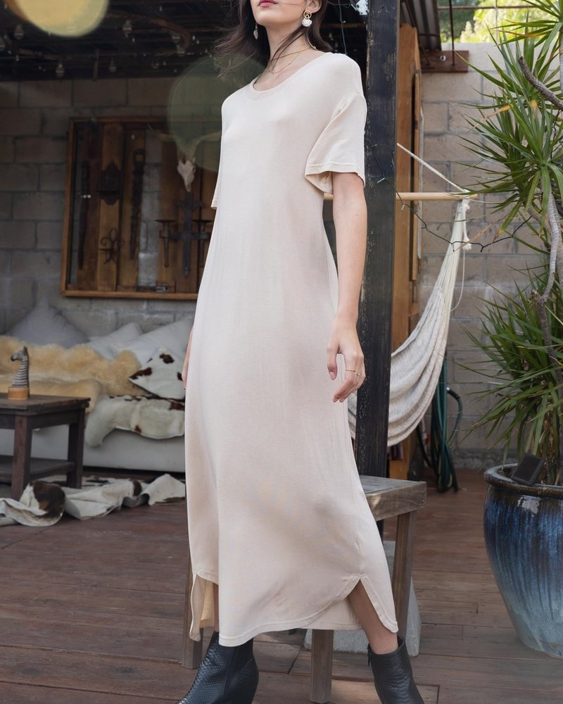 POL Felt Soft Short Sleeve Maxi Dress With Side Round Slit (SMD144)