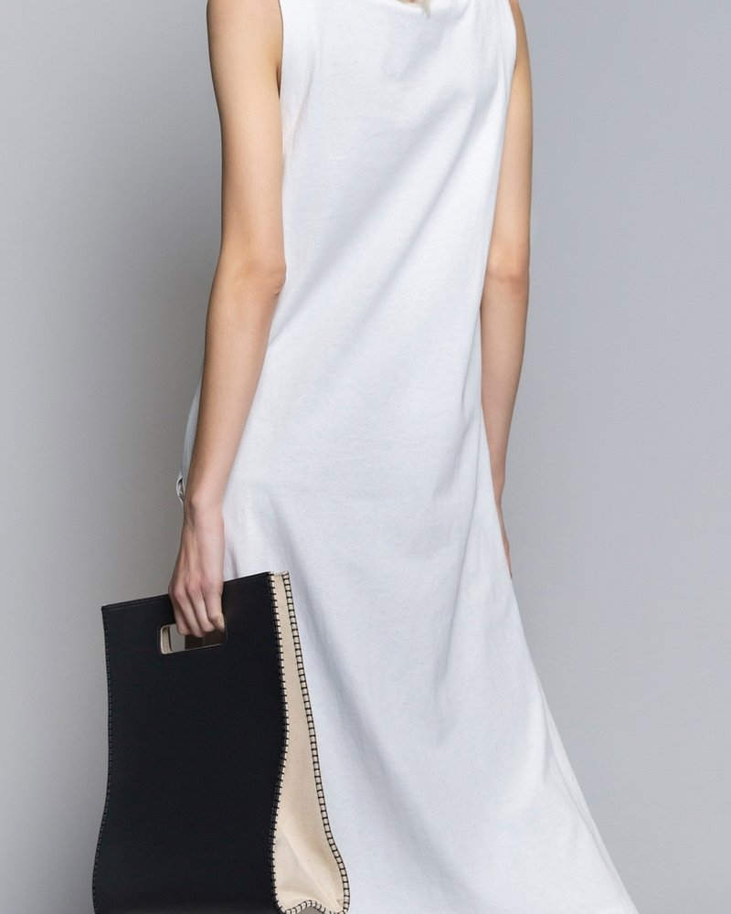 POL Relaxed Fit Low V-Neck Sleeveless Maxi Dress With Side Slit (SMD145)