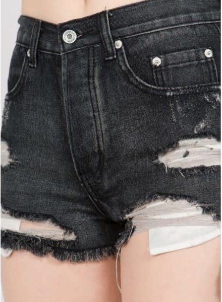 Signature 8 Destroyed High Waist Denim Shorts (IP682B)