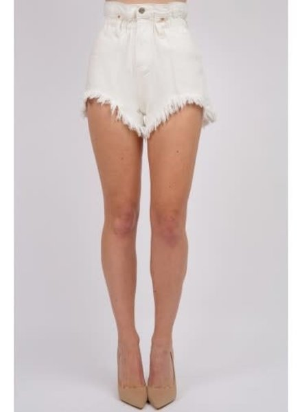 Signature 8 Paperbag White Denim Shorts (S8656W)