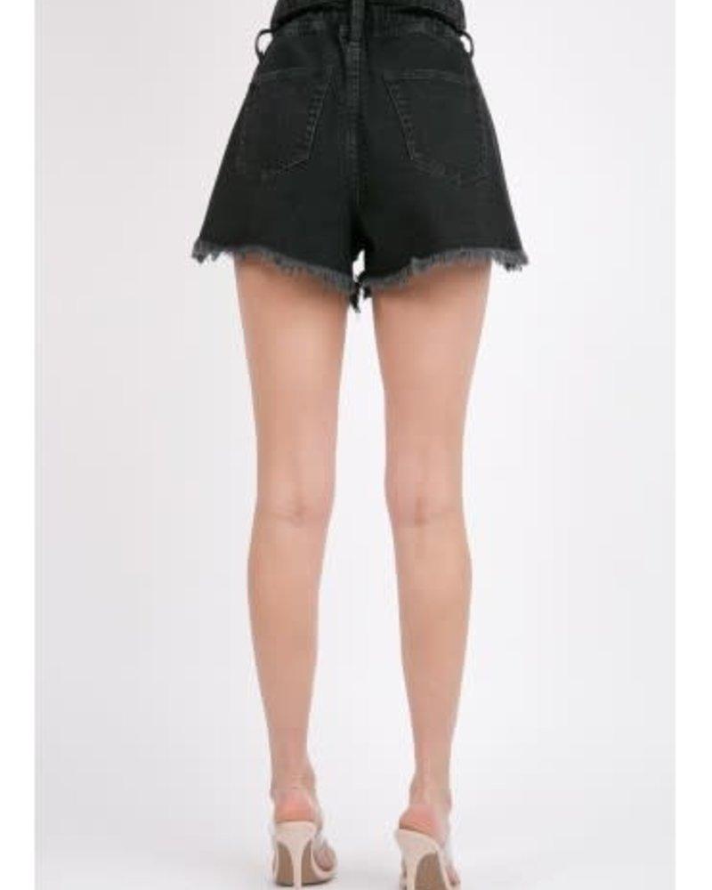 Signature 8 Washed Black Paper Denim Shorts (S8656B)