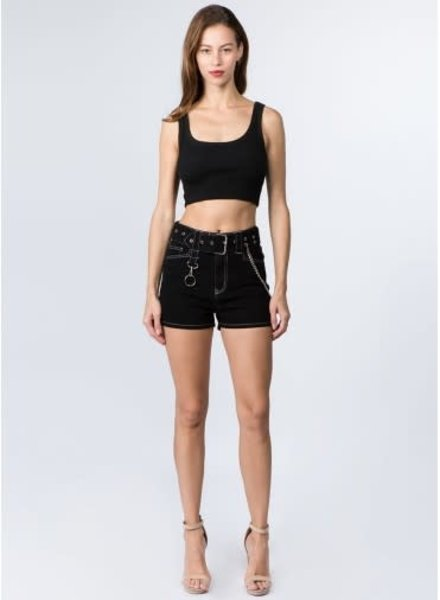 Signature 8 Belted Shorts With Chain (S8689)