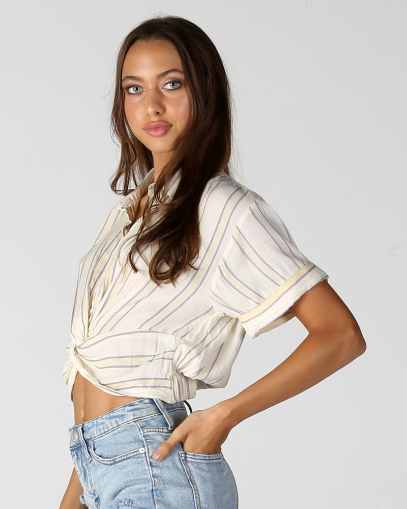 Angie Twist Front Button Up Top (F2084)