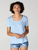 Angie Scoop Neck Short Sleeve Tee Shirt Slight Hi-Low Raw Hem (X2AG4)
