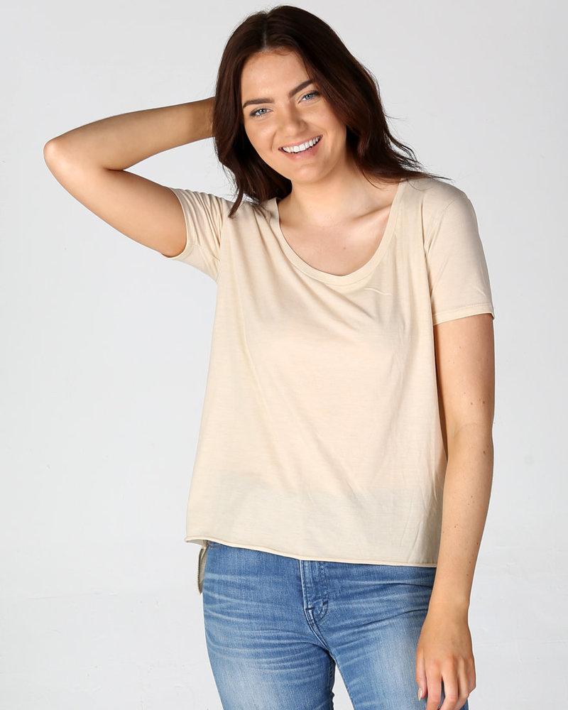 Angie Scoop Neck Shirt  Raw Hem (X2AG4)