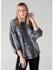 Angie Knit Shades Of Grey Balloon Sleeve Top (X2AV7)