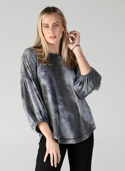 Angie Knit Shades Of Grey Balloon Sleeve Top (X2AV7)