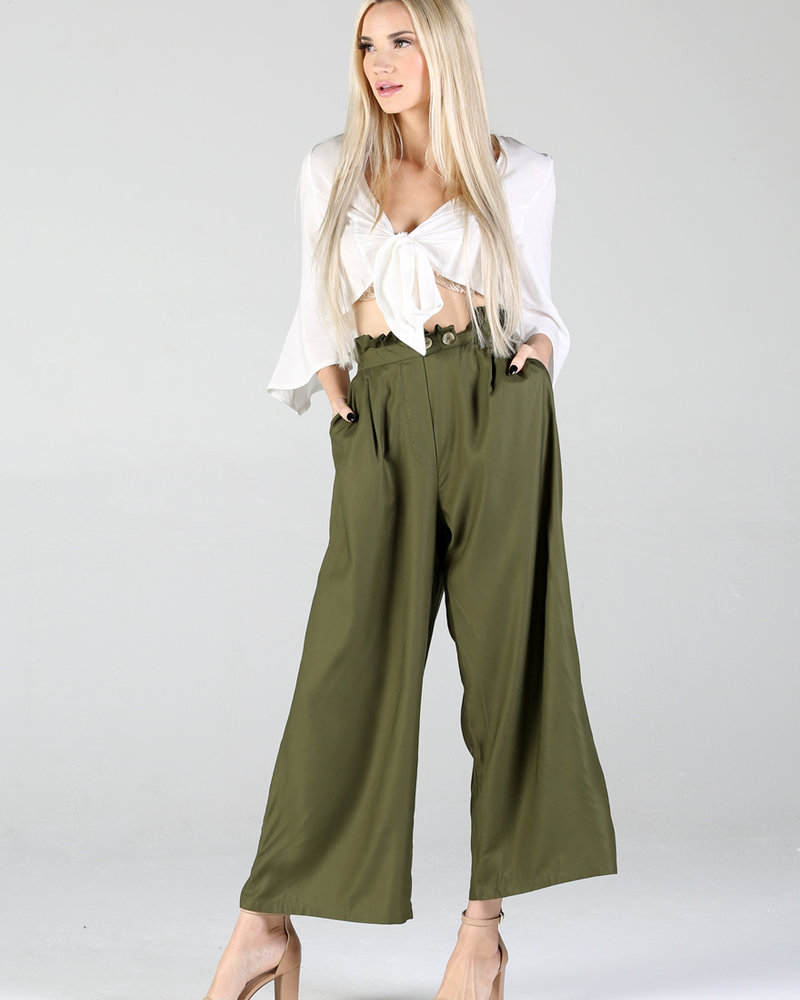 Angie Pleated Button Paper Bag Waist Pant (B3367)