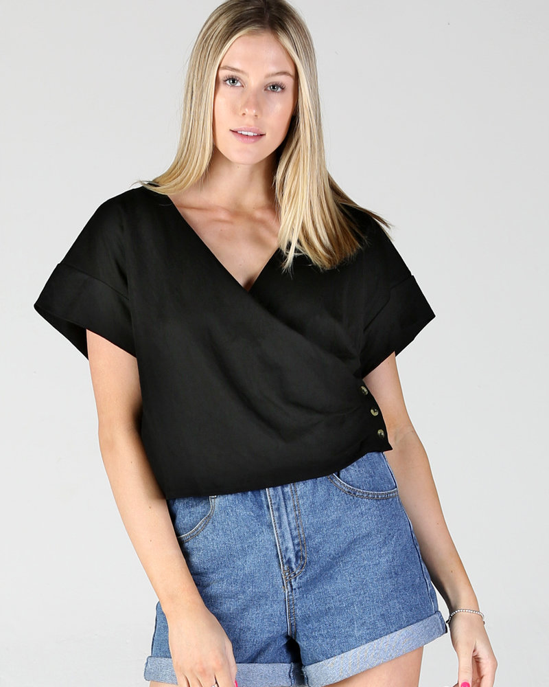 Angie Side Button Wrap Top (X2X44)