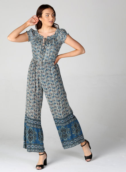 Angie Gathered Sleeve Off The Shoulder Jumpsuit (B5817)
