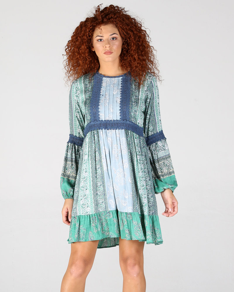 Angie Long Sleeve Dress With Accents On Sleeves And Chest (B4VV9)
