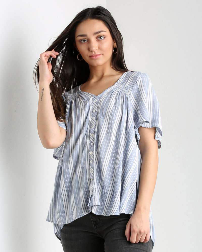 Angie Striped Button Front Short Sleeve Flowy Top (F2414)