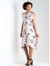 Angie V Neck Flutter SLeeves And Ruffle Scarf Hem Dress (F4D51)