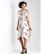 Angie V Neck Flutter Sleeves w/Ruffle Scarf Hem Dress (F4D51)