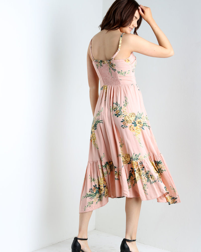 Angie Knot Front Dress with Ruffle Hem (F4D93)