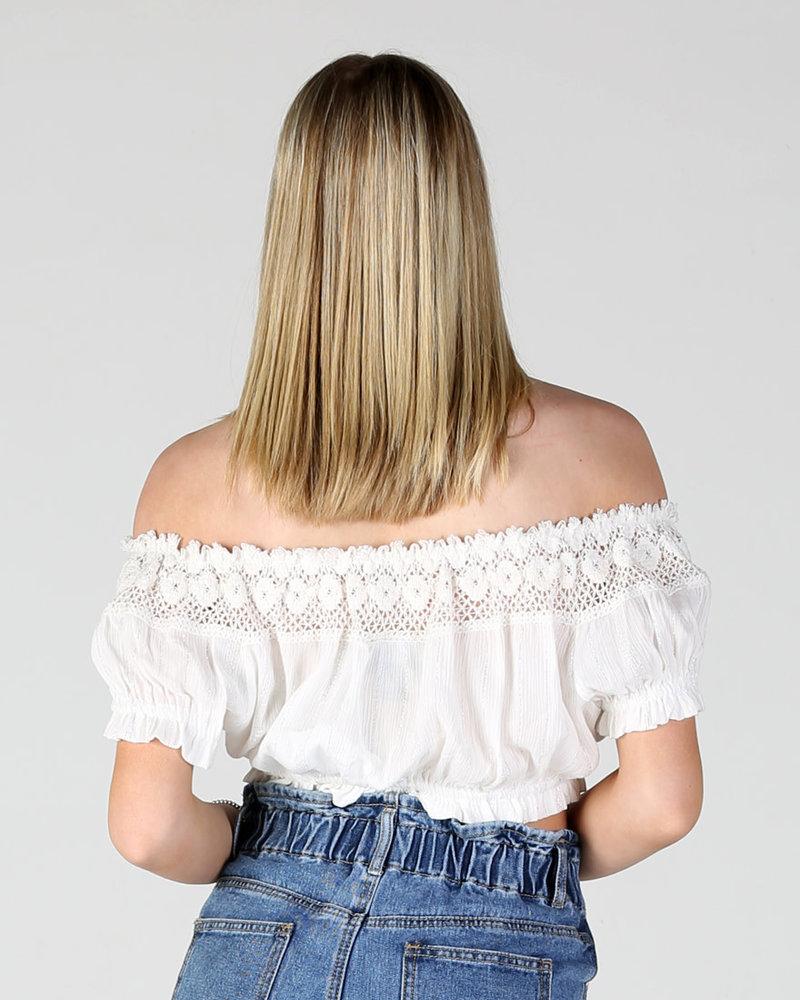 Angie Lurex Crop Top w/Lace (F2196)