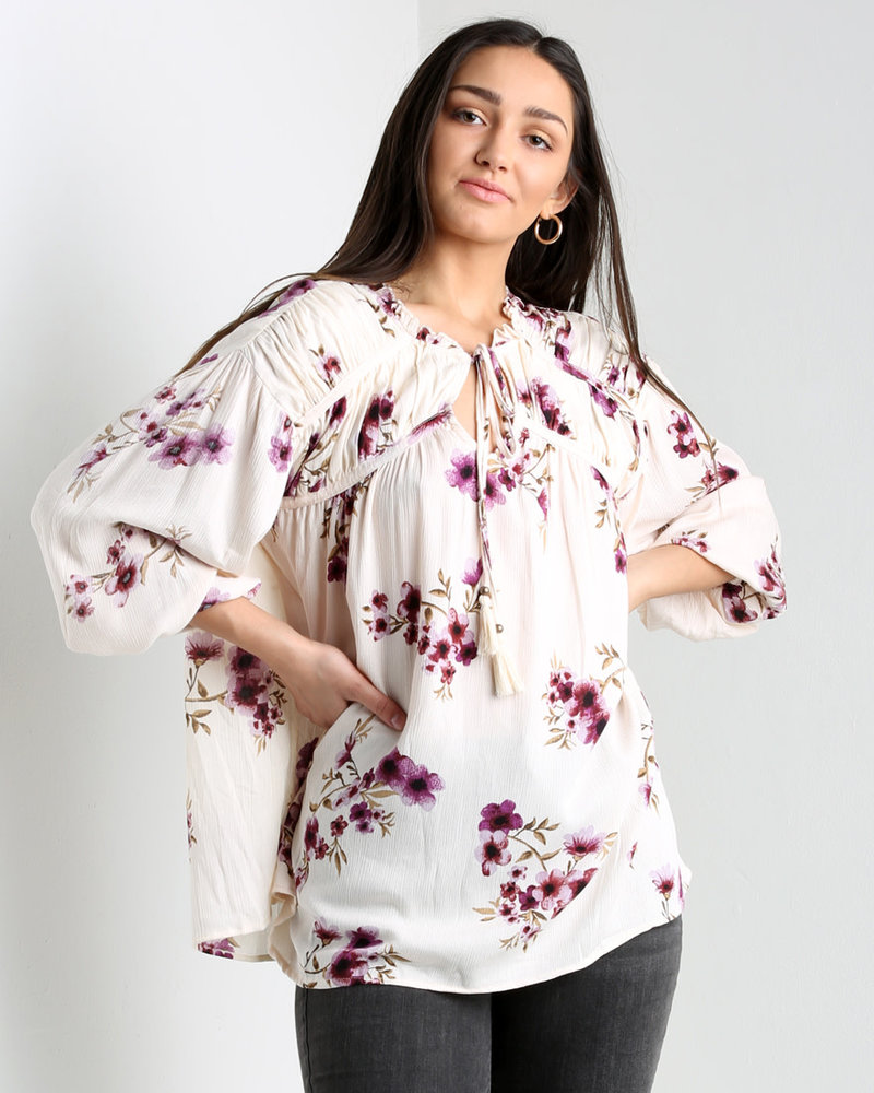 Angie Blouse With Tassles and Yoke Detail (F2513)