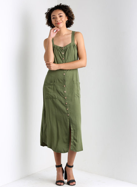 Angie Linen Look Button Front 2 Pocket Tank Dress (X4X11)