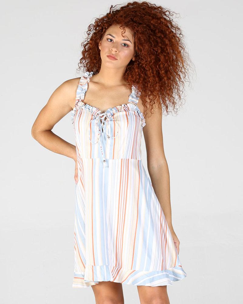 Angie Moss Crepe Ruffle Straps Dress (B4Z99)