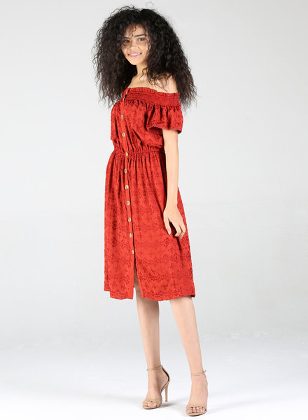 Angie All over Embroidered Short Sleeve Midi Dress (F4B47)