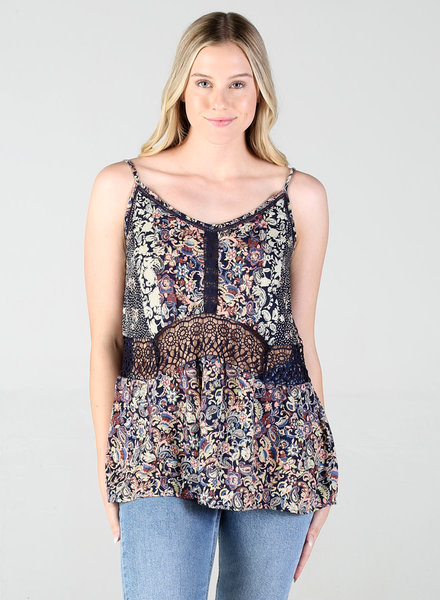 Angie Spaghetti Strap V-Neck Tank With Crochet Detail (B2Y34)