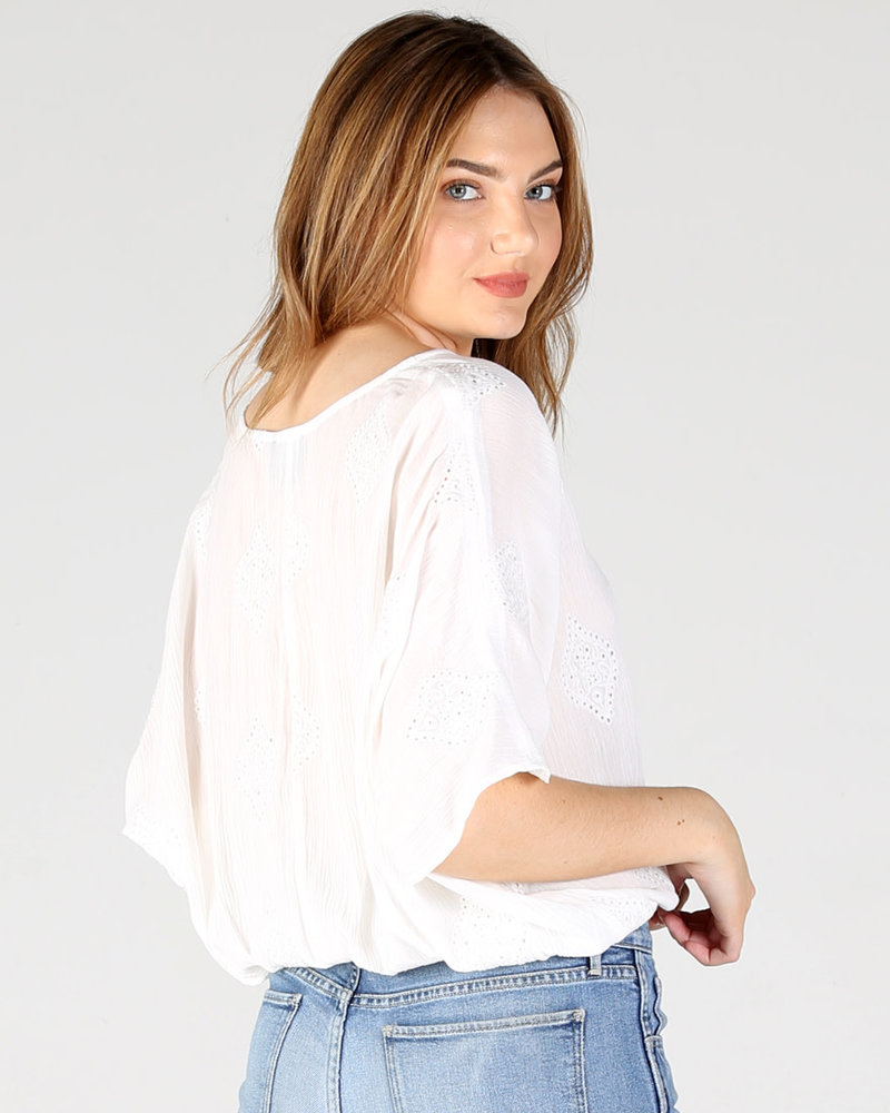 White Eyelet Emb SS Button front Top with elastic waist (X2AS0)
