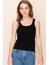 Double Zero Double Zero Square Neck Edge Stitch Detail Tank Top (DZ20E359)