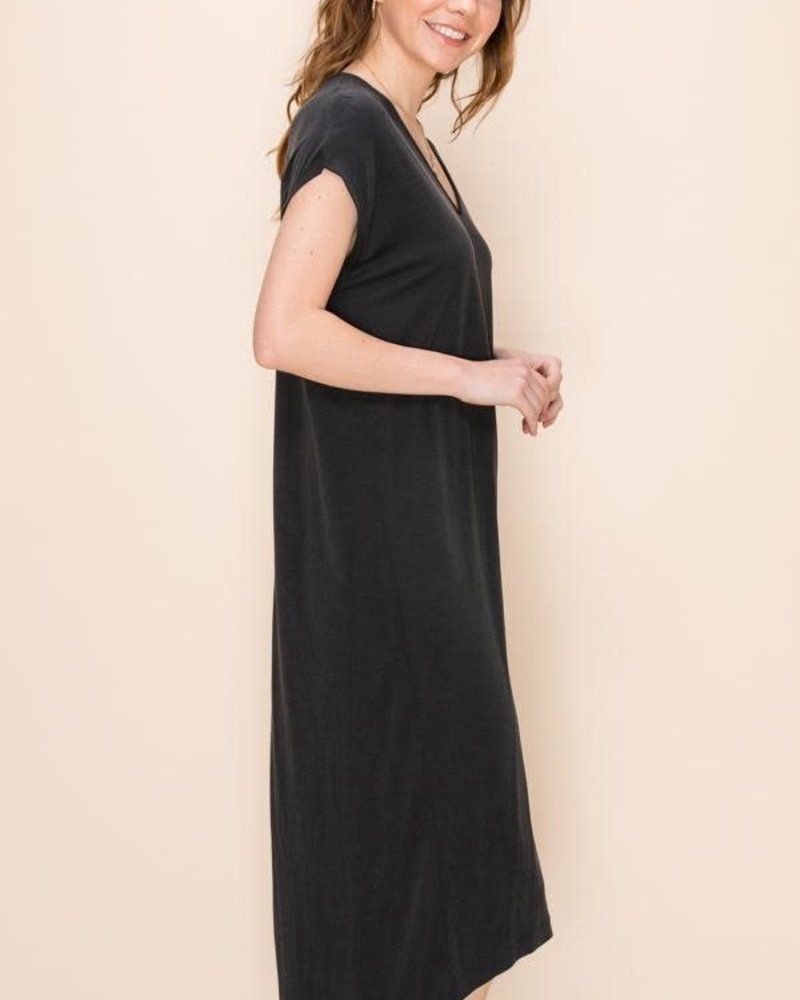 Double Zero Double Zero V-Neck Dolman Midi Dress (DZ20C766)
