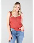 Angie Lace Trim Rib Knit Tank W.Buttons (X2AG9)