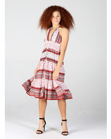Angie Mid Length Halter Dress with Smocking Below Bust (F4E08)