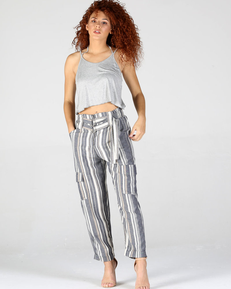 Angie Stripped Pant W/ double buckle (25R52)