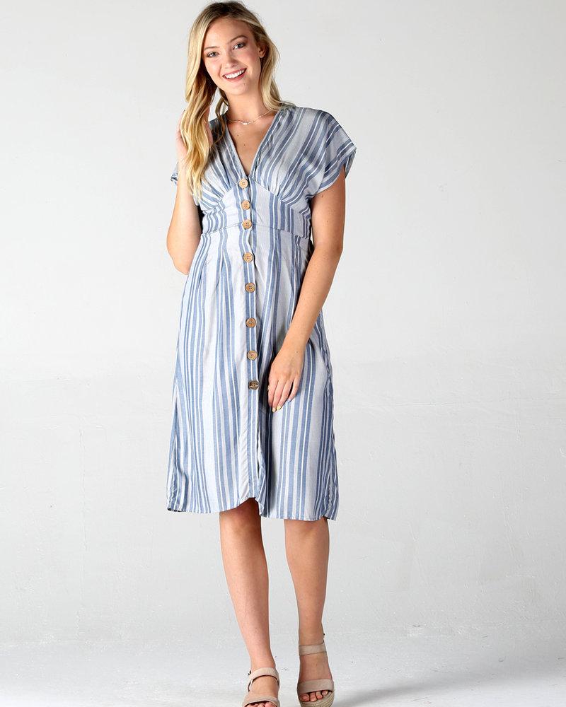 Angie Button Up V Neck Dress (F4A56)