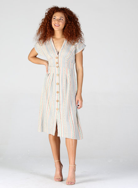 Angie Button Up V Neck Dress (F4A56)