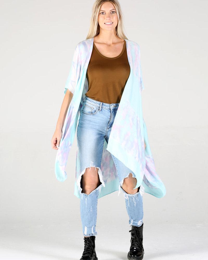 Tie Dye Stripes Kimono (X2BA9)