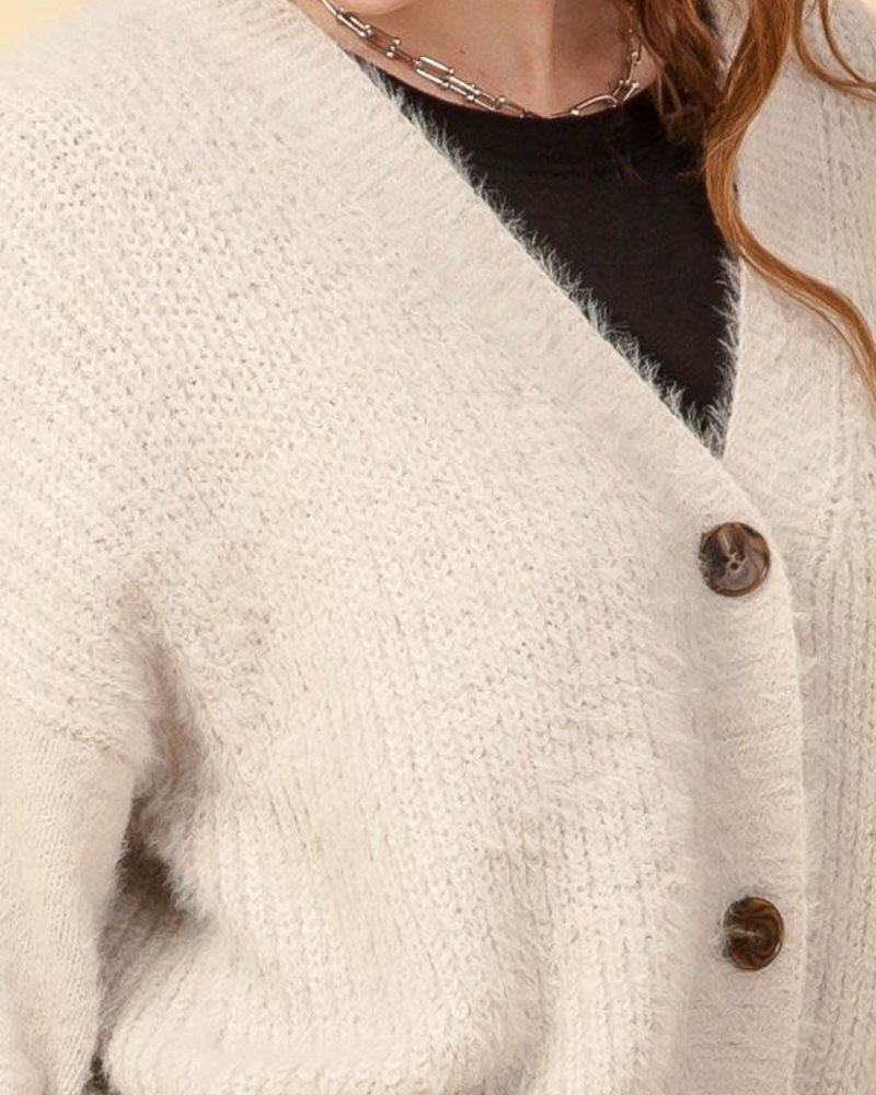 Double Zero Double Zero Button Down Fuzzy Cardigan (DZ20G936)