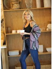 Angie Woven Stripe Ribbon Fabric Flounce Sleeve Kimono (F2448) RM24