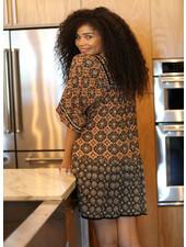 Angie Square Neck 3/4 Sleeve Ruffle Tiered Hem Dress (F4E57)