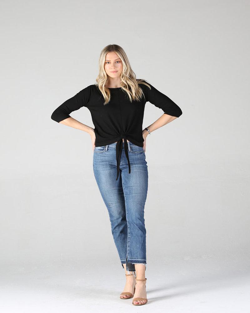 Angie Rib Knit Tie Front Top (X2Z11)