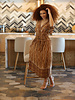 Angie V-Neck Tiered Elastic Waist Dress (F4E92)