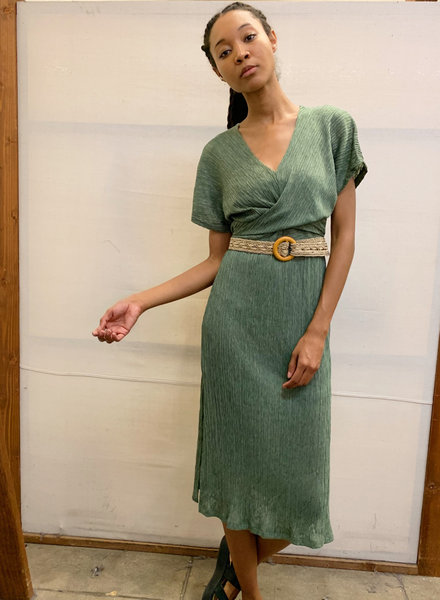All in Favor All in Favor Phoebe V Neck Wrap Pliss Dress (DR96210-001)