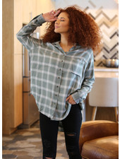 Angie Plaid High Low Top (P2R13)