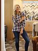 Angie Balloon Sleeve Plaid Shirt (P2Z16)
