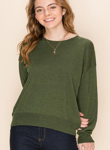 Double Zero Double Zero Cashmere Blend Crew Neck Long Sleeve Sweater (DZ20G991)